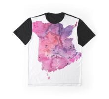 Watercolor Map of New Brunswick, Canada in Pink and Purple - Giclee Print  Graphic T-Shirt
