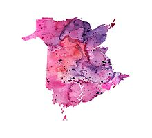Watercolor Map of New Brunswick, Canada in Pink and Purple - Giclee Print  Photographic Print