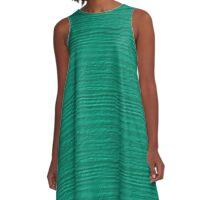Peacock Green Wood Grain Texture A-Line Dress