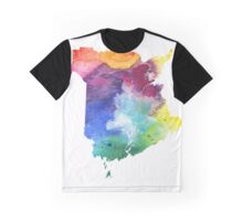 Watercolor Map of New Brunswick, Canada in Rainbow Colors - Giclee Print Graphic T-Shirt