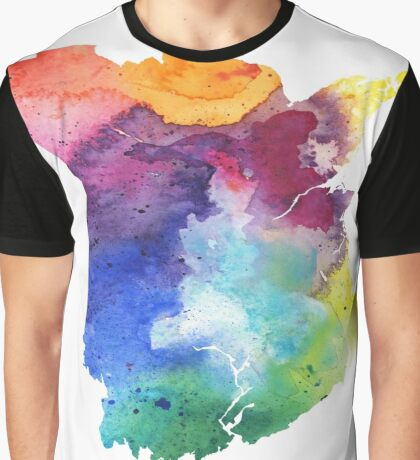 Watercolor Map of New Brunswick, Canada in Rainbow Colors Graphic T-Shirt