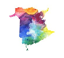 Watercolor Map of New Brunswick, Canada in Rainbow Colors - Giclee Print Photographic Print