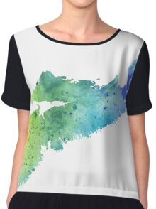 Watercolor Map of Nova Scotia, Canada in Blue and Green - Giclee Print of My Own Watercolor Painting Chiffon Top