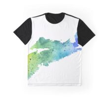 Watercolor Map of Nova Scotia, Canada in Blue and Green - Giclee Print of My Own Watercolor Painting Graphic T-Shirt
