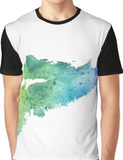 Watercolor Map of Nova Scotia, Canada in Blue and Green  Graphic T-Shirt