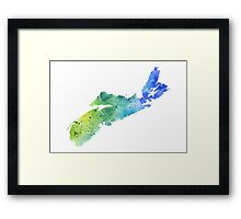 Watercolor Map of Nova Scotia, Canada in Blue and Green - Giclee Print of My Own Watercolor Painting Framed Print