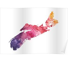 Watercolor Map of Nova Scotia, Canada in Orange, Red and Purple - Giclee Print  Poster