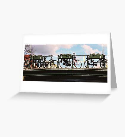 Amsterdam Bicycles on a Bridge Greeting Card