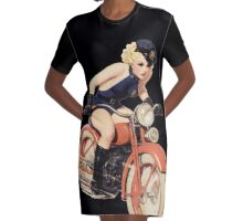 Tasty Pinup Police Graphic T-Shirt Dress