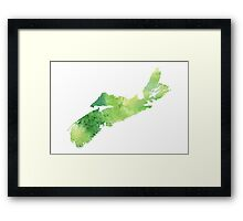 Watercolor Map of Nova Scotia, Canada in Green - Giclee Print My Own Watercolor Painting Framed Print