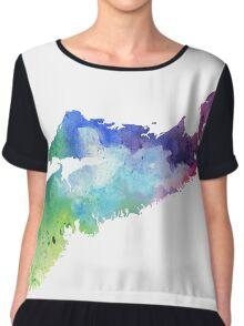 Watercolor Map of Nova Scotia, Canada in Rainbow Colors Chiffon Top
