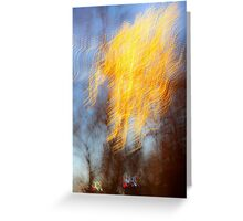 Abstract defocused colour lights in a dark blue night sky Greeting Card