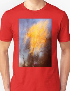 Abstract defocused colour lights in a dark blue night sky Unisex T-Shirt