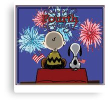 Snoopy And Charlie Happy Fourth Of July Canvas Print