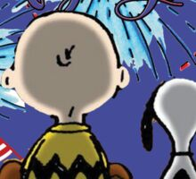 Snoopy And Charlie Happy Fourth Of July Sticker