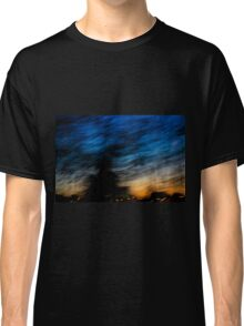 Motion blurred trees and landscape abstract at sunset  Classic T-Shirt