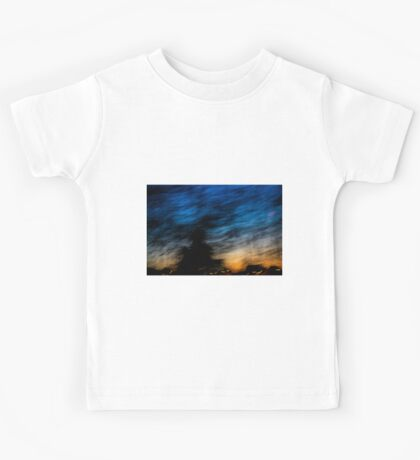 Motion blurred trees and landscape abstract at sunset  Kids Tee