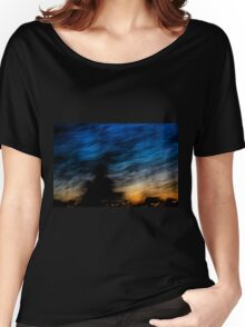 Motion blurred trees and landscape abstract at sunset  Women's Relaxed Fit T-Shirt