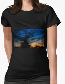 Motion blurred trees and landscape abstract at sunset  Womens Fitted T-Shirt