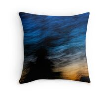 Motion blurred trees and landscape abstract at sunset  Throw Pillow