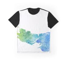 Watercolor Map of Prince Edward Island, Canada in Blue and Green - Giclee Print  Graphic T-Shirt