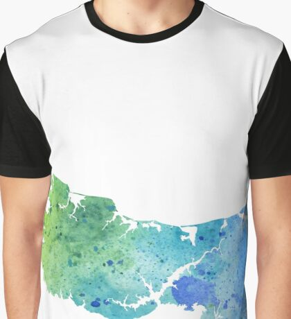 Watercolor Map of Prince Edward Island, Canada in Blue and Green Graphic T-Shirt