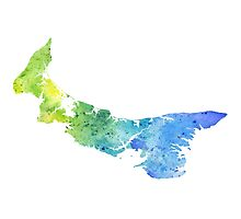 Watercolor Map of Prince Edward Island, Canada in Blue and Green - Giclee Print  Photographic Print