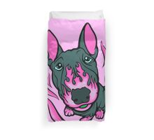 Custom Hot Rod Bull Terrier Hot Pink  Duvet Cover