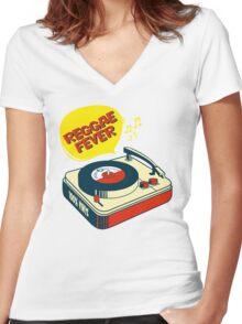 """REGGAE FEVER """" 100% VINYL TROJAN RECORDS """"  Women's Fitted V-Neck T-Shirt"""
