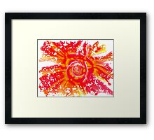 Shattering rose fractal in yellow and red Framed Print