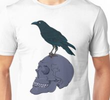 Raven Perched On A Human Skull Unisex T-Shirt