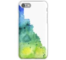 Watercolor Map of Yukon, Canada in Blue and Green - Giclee Print of My Own Watercolor Painting iPhone Case/Skin