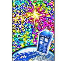Tardis in a Psychedelic Universe Photographic Print