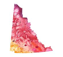 Watercolor Map of Yukon, Canada in Orange, Red and Purple - Giclee Print  Photographic Print