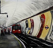 London Underground Wood Green Urban Cityscape Contemporary Acrylic Painting by JamesPeart