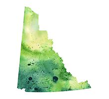 Watercolor Map of Yukon, Canada in Green - Giclee Print My Own Watercolor Painting Photographic Print