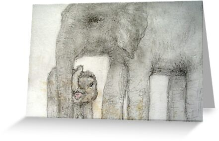 mother and baby elephant by MardiGCalero