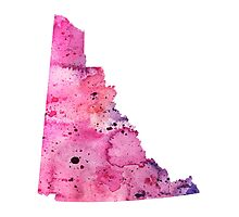 Watercolor Map of Yukon, Canada in Pink and Purple - Giclee Print of My Own Watercolor Painting Photographic Print