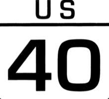Historic highway 40 black white Sticker