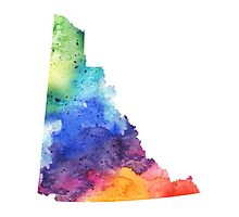 Watercolor Map of Yukon, Canada in Rainbow Colors - Giclee Print of My Own Watercolor Painting Photographic Print