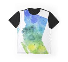 Watercolor Map of British Columbia, Canada in Blue and Green - Giclee Print  Graphic T-Shirt