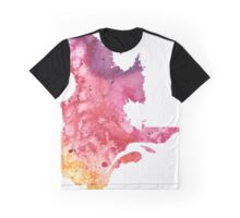Watercolor Map of Quebec, Canada in Orange, Red and Purple - Giclee Print  Graphic T-Shirt