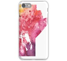 Watercolor Map of Manitoba, Canada in Orange, Red and Purple - Giclee Print  iPhone Case/Skin