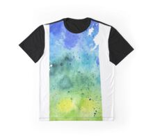Watercolor Map of Saskatchewan, Canada in Blue and Green - Giclee Print Graphic T-Shirt