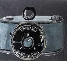 Tahbes Vintage Film Photography Camera Acrylic Painting by JamesPeart