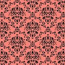 Elegant Black Damask Pattern Girly Coral Pink  by Beverly Claire Kaiya