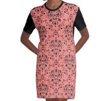 Elegant Black Damask Pattern Girly Coral Pink  Graphic T-Shirt Dress