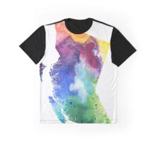 Watercolor Map of British Columbia, Canada in Rainbow Colors - Giclee Print  Graphic T-Shirt