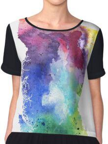 Watercolor Map of British Columbia, Canada in Rainbow Colors - Giclee Print  Chiffon Top