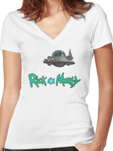 Rick and Morty spaceship Women's Fitted V-Neck T-Shirt